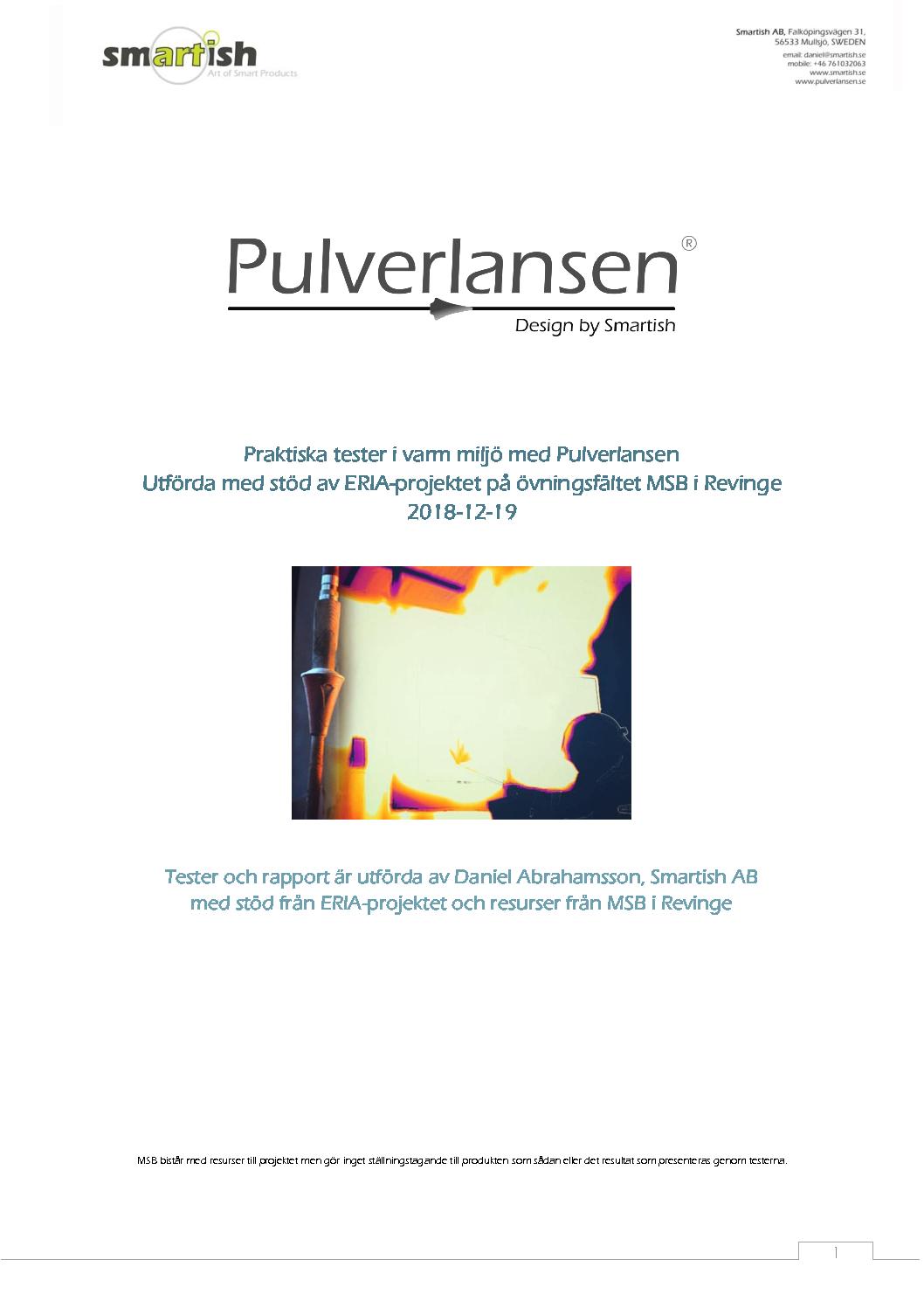 Testrapport Pulverlansen ERIA projeket Revinge pdf - Pulverlansen mentioned in the Swedish magazine Utryckning!